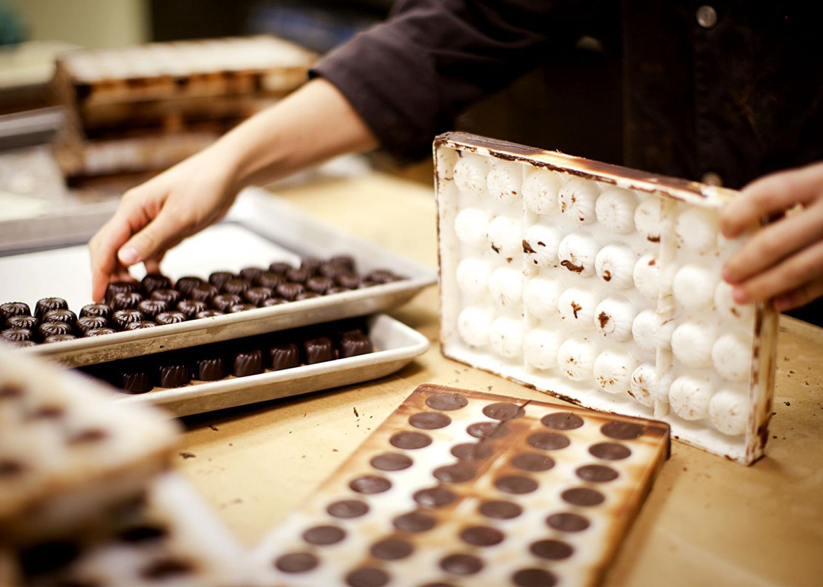 Milk Chocolate, dark chocolate, white chocolate factory